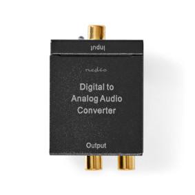 Digitale Audioconverter | 1-weg | Input: 1x Digital RCA / 1x TosLink | Output: 1x (2x RCA) / 1x 3,5mm | Automatisch | Geïntegreerde versterker | Zwart