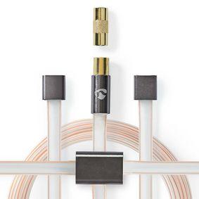 FM Dipole Antenna Set | IEC (Coax) + Coax Adapter male - male | 2.0 m | Transparent - Grey