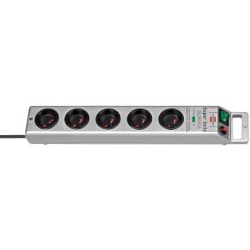 Multiprise SUPER-SOLID Argenté, 5 prises, avec parasurtenseur, disjoncteur 16A et 2,5m de câble H05VV-F 3G1,5 (13.500A)