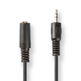 Câble audio stéréo | 3.5 mm Mâle | 3.5 mm Femelle | Plaqué nickel | 5.00 m | Rond | Noir | étiquette