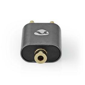 Adaptataeur audio stéréo | 2x RCA Male | 3.5 mm Femelle | Plaqué or | Droit | Aluminium | Gris bronze | 1 pièces | Sachet avec Fenetre