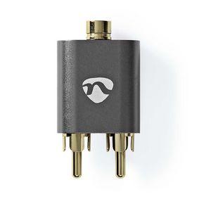 Sztereó audio adapter | 2x RCA Dugasz | 3.5 mm Aljzat | Aranyozott | Egyenes | Alumínium | Fém Szürke | 1 db | Ablakos Fedő Doboz