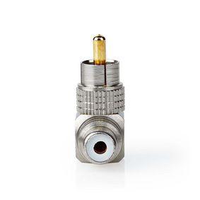 Mono Audio Adapter | RCA Male | RCA Female | Gold Plated | Angled 90° | Metal | Gunmetal / Metal | 2 pcs | Window Box