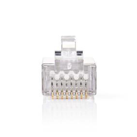 RJ45-stik | Han | Solid STP CAT5 | Lige | Guldplateret | 10 stk. | PVC | Gennemsigtig | Box