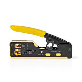 Crimp pliers   CAT5 / CAT5e / CAT6 / CAT6a / CAT7 / RJ12 / RJ45   Cutting / Plier / Stripping   Soft-Touch / Steel   Black / Yellow
