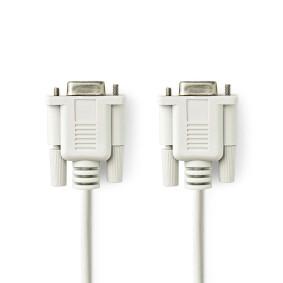Nullmodemkabel | D-SUB 9-Pin-Buchse | D-SUB 9-Pin-Buchse | Vernickelt | 2.00 m | rund | PVC | Elfenbein | Plastikbeutel