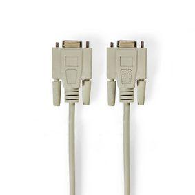 Nullmodemkabel | D-SUB 9-Pin-Buchse | D-SUB 9-Pin-Buchse | Vernickelt | 3.00 m | rund | PVC | Elfenbein | Plastikbeutel