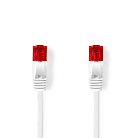 CAT6-kabel | RJ45 (8P8C) Male | RJ45 (8P8C) Male | UTP | 5.00 m | Plat | PVC | Wit | Polybag