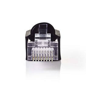 RJ45-stik | Han | Solid UTP CAT5 | Lige | Guldplateret | 10 stk. | PVC | Gennemsigtig / Sort | Plastikpose