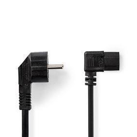 Stromkabel | IEC-320-C13 | IEC-320-C14 | 90° abgewinkelt | 90° abgewinkelt | Vernickelt | 2.00 m | rund | PVC | Schwarz | Aufhänger
