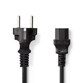 Stromkabel | IEC-320-C13 | IEC-320-C14 | gerade | gerade | Vernickelt | 2.00 m | rund | PVC | Schwarz | Aufhänger