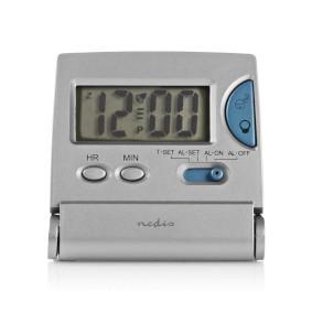 Digitale Bureau-Wekker | Verlicht LCD-Scherm | 1.7 cm | Achtergrondverlichting | Opvouwbaar | Gebruikt voor: Travel | Snoozefunctie | Ja | Zilver