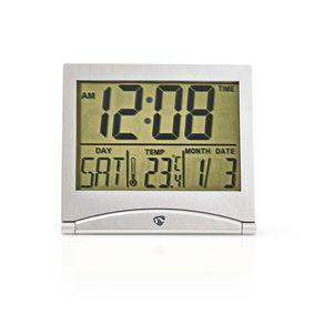 Digitale Bureau-Wekker | LCD-Scherm | 5 cm | Opvouwbaar | Datumweergave | Timerfunctie | Binnentemperatuur | Ja | Zilver