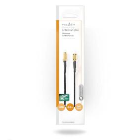 Antennekabel | SMA Hun | SMA Han | Guldplateret | 75 Ohm | Enkelt afskærmet | 0.5 m | Runde | Flettet | Sort | Plastikpose