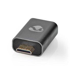 HDMI™ Adapter | HDMI Male / HDMI™ Mini Connector | HDMI Female / HDMI™ Output | Gold Plated | Straight | Aluminium | Gunmetal | 1 pcs | Cover Window Box