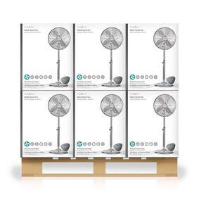 Ventilador de pie | Diámetro: 400 mm | 3 Velocidades | Oscilación | 50 W | Altura ajustable | Cromo