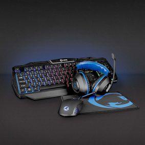 Gaming Combo Kit | 4-in-1 | Tastatur, Headset, Maus und Mauspad | Blau / Schwarz | QWERTY | ES-Layout