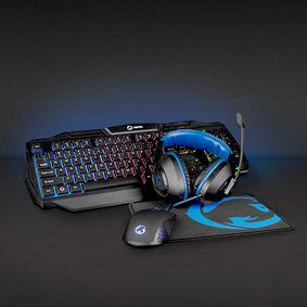 Gaming Combo Kit | 4-in-1 | Tastatur, Headset, Maus und Mauspad | Blau / Schwarz | QWERTY | ND-Layout