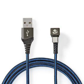 USB-Kabel | USB 2.0 | USB-A Stecker | USB-Typ-C ™ Stecker | 480 Mbps | Vergoldet | 1.00 m | rund | Geflochten / Nylon | Blau / Schwarz | Verpackung mit Sichtfenster