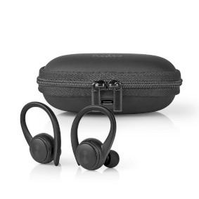 Vollständig drahtlose Kopfhörer | Bluetooth® | Batteriespielzeit: bis zu 4 Stunden | Drücken Sie Strg | Ladegehäuse | Eingebautes Mikro | Stimmkontrolle | Ohrenhaken | Schwarz
