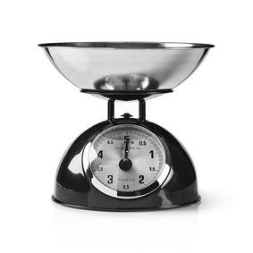 Küchenwaagen | Analog | Edelstahl | Abnehmbare Schale | Schwarz