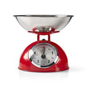 Küchenwaagen | Analog | Edelstahl | Abnehmbare Schale | Red