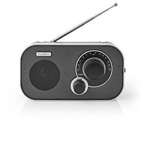 FM Radio | Portable Design | FM | Battery Powered / Mains Powered | Analogue | 1.5 W | Headphone output | Carrying handle | Aluminium / Black