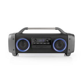 Party Boombox | Bis zu 12 Stunden | 2.2 | 60 W | Medienwiedergabe: AUX / Micro SD / Radio / USB | IPX4 | Verknüpfbar | Tragegriff | Partylicht | Grau / Schwarz