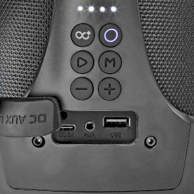 Party Boombox | bis zu 6 Stunden | 2.0 | 50 W | Medienwiedergabe: AUX / USB | IPX5 | Verknüpfbar | Tragegriff | Partylicht | Schwarz