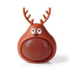 Bluetooth®-Speaker | Batterij speelduur: Tot 3 Uur | Handheld Ontwerp | 9 W | Mono | Ingebouwde microfoon | Koppelbaar | Animaticks Rudy Reindeer | Bruin