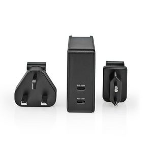 Wall Charger | Quick charge feature | PD3.0 18W / PD3.0 27W / PD3.0 36W / PD3.0 45W / PD3.0 65W | 1.5 A / 2.0 A / 3.0 A / 3.25 A | Number of outputs: 2 | 2x USB-C™ | 65 W | Automatic Voltage Selection