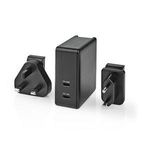 Síťová Nabíječka | Funkce rychlého nabíjení | PD3.0 18W / PD3.0 27W / PD3.0 36W / PD3.0 45W / PD3.0 65W | 1,5 A / 2,0 A / 3.0 A / 3.25 A | Počet výstupů: 2 | 2x USB-C™ | 65 W | Automatická Volba Napětí