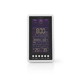 Väderstation   Inomhus & utomhus   Radiostyrd klocka   Inklusive trådlös vädersensor   Väderprognos   Barometer   Tidsdisplay   Bakgrundsbelysning LCD   Alarmklockfunktion