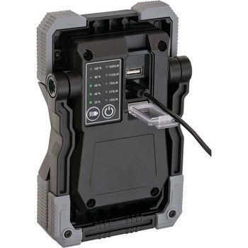 Akku LED Arbeitsstrahler RUFUS / LED Arbeitsleuchte für Werkstatt (mit Powerbank-Funktion, inkl. Ladekabel, 1500lm, IP65)