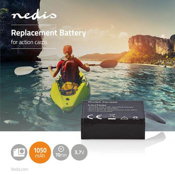 Action Cam Replacement Battery | 1050 mAh | Max. 70 Minutes | 3.7 V