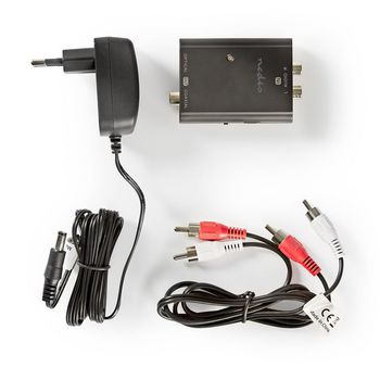 Stereo to Digital Audio Converter | 1-way - 2x RCA (Stereo) | Digital RCA (S/PDIF) + TosLink
