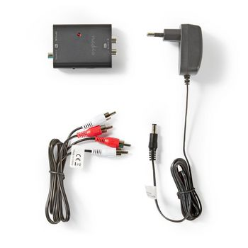 Digital to Stereo Audio Converter | 1-way - Digital RCA (S/PDIF) + TosLink | 2x RCA (Stereo)