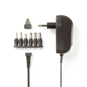 Universal-Netzteil | Euro / Typ C (CEE 7/16) | 18 W | 3 / 4.5 / 5 / 6 / 7.5 / 9 / 12 VDC | Ausgangsstecker Typ: 2.5 x 2.1 mm / 3.5 x 1.35 mm / 3.5 x 2.1 mm / 5.0 x 2.1 mm / 5.5 x 1.5 mm / 5.5 x 2.5 mm | 1.80 m | Eingangsspannung: AC 100 - 240 V | Auswahl der Ausgangsspannung: Manuell | Schwarz