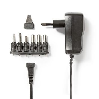 Universal AC Power Adapter | 3/4.5/5/6/7.5/9/12 VDC | 0.6 A