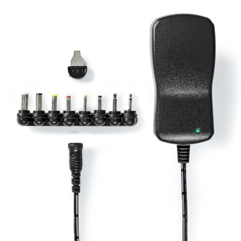 Universal AC Power Adapter | Euro / Type C (CEE 7/16) | 7.5 W | 3 / 5 / 6 / 7.5 / 9 / 12 VDC | Udgangstype: DC Stik 2.35 x 0.70 mm / DC Stik 3.00 x 1.00 mm / DC Stik 3.50 x 1.35 mm / DC stik 4.00 x 1.70 mm / DC Stik 5.00 x 2.10 mm / DC Stik 5.50 x 2.50 mm / 2.5 mm Mono Jack / 3.5 mm Mono Jack | 1.10 m | Indgangsspænding: AC 100 - 240 V | Valg af udgangsspænding: Manuelt | Universal | Maksimal udgangsstrøm pr. port: 2.0 A | Sort