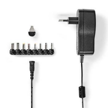Universele AC-Stroomadapter | Type C (CEE 7/16 | 7.5 W | 3 / 5 / 6 / 7.5 / 9 / 12 VDC | Uitgangsplug type: DC plug 2,35 x 0,7 mm / DC plug 3 x 1 mm / DC plug 3,5 x 1,35 mm / DC plug 4 x 1,7 mm / DC plug 5 x 2,1 mm / DC plug 5,5 x 2,5 mm / 2,5 mm Mono Jack / 3,5 mm Mono Jack | 1.10 m | Ingangsvoltage: AC 100 - 240 V | Selectie uitgangsvoltage: Manueel | Universeel | Maximale uitgangsstroom per poort: 2.0 A | Zwart