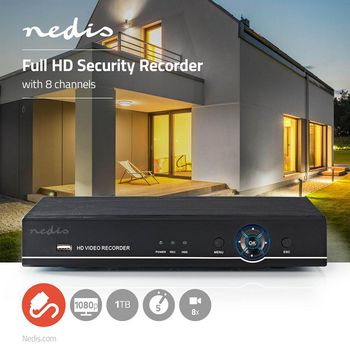 CCTV Security Recorder | 8-Channel | Full HD | 1 TB HDD included