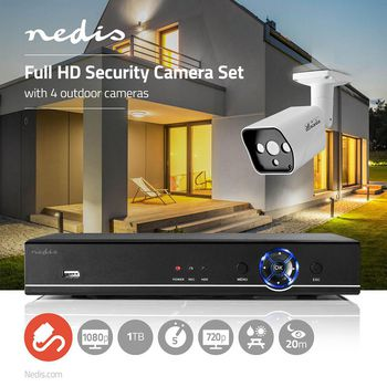 CCTV Security Recorder set | 4x Cameras included | Full HD | 1 TB HDD included