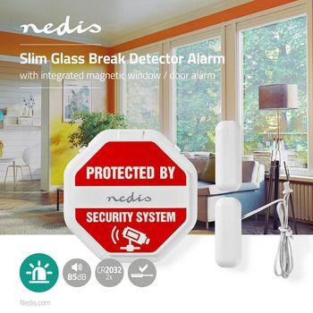 Slank glasbrudsalarm til døre/vinduer | Indbygget sirene