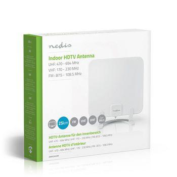 Indoor HDTV Antenna | 0 - 25 km | Gain 30 dB | FM/VHF/UHF | White