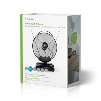 Indoor HDTV Antenna | 0 - 25 km | Gain 30 - 36 dB | FM/VHF/UHF | Black