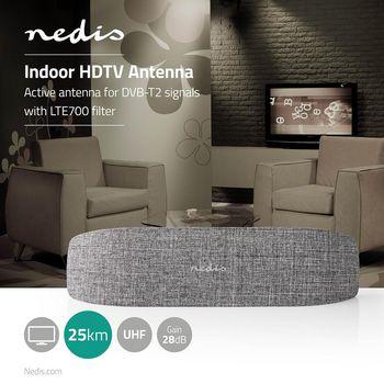 Antena Interior HDTV | 0-25 km | 28 dB de Ganancia | FM/VHF/UHF | Gris