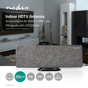 Pokojová HDTV Anténa | 0-25 km | Zesílení 28 dB | FM/VHF/UHF | Šedá