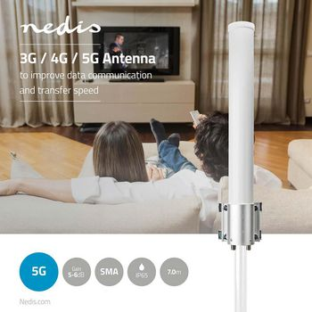 3G / 4G / 5G Antenna | GSM / 3G / 4G / 5G | For Outdoor | 698 - 5000 MHz | Gain: 6 dB | White