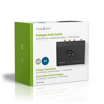 Analoger Audio-Schalter   3,5-mm-Buchse + 3x (2x Cinch-Buchse) - 2x Cinch-Buchse   Schwarz
